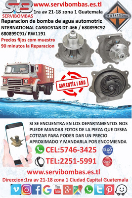 Bomba De Agua Automotriz International Dt466 Cargostar