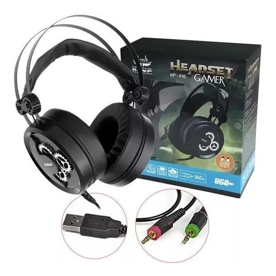 Headset Gamer Knup 7.1 Led Kp 416, Ps4, Pc, Xbox One