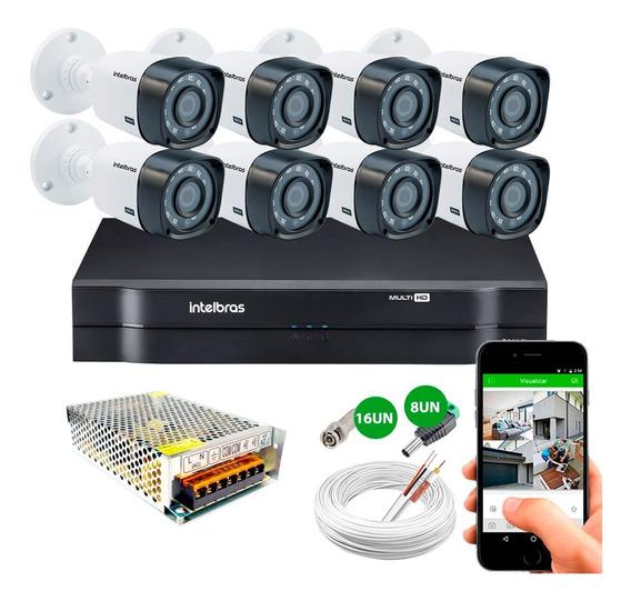 Kit Cftv 8 Cameras 1010b + Alarme Amt 2018 E Intelbras