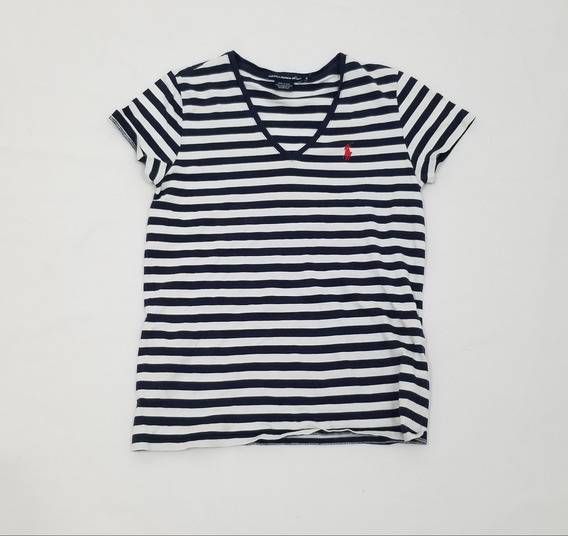 Playera Ralph Lauren, Mujer, Chica, Blanco Y Azul Lineas.