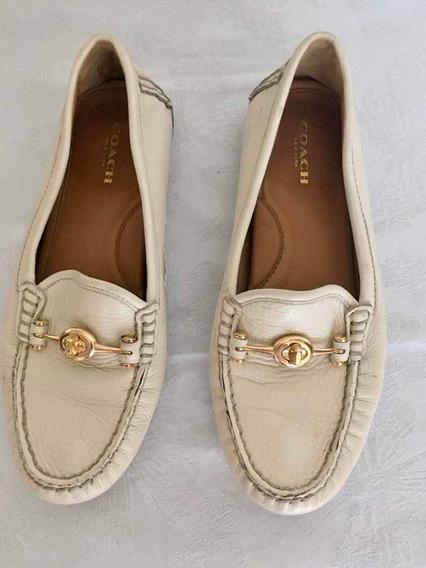 Zapatos De Piel Color Hueso Original Coach T4. Bonitos