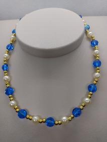 Colar Com Pedras De Cristal Swarovski Cor Meridian Blue