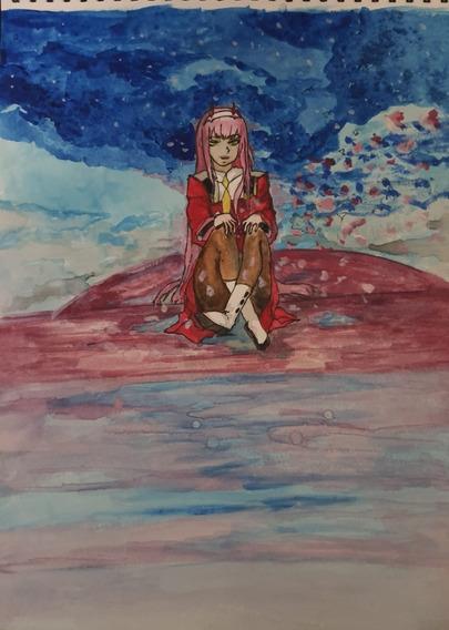 Dibujo Anime Zero Two Darling In The Franxx Acuarelas