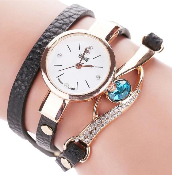 Relógio Feminino Pulseira De Couro Joia Azul Barato Promoção