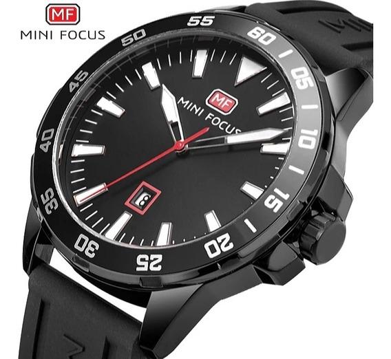 Relógio Masculino Minifocus Preto Silicone Com Frete Grátis