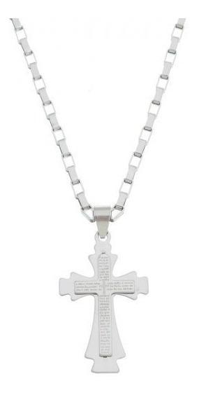 Colar Crucifixo Pai Nosso Em Alto Relevo De Inox