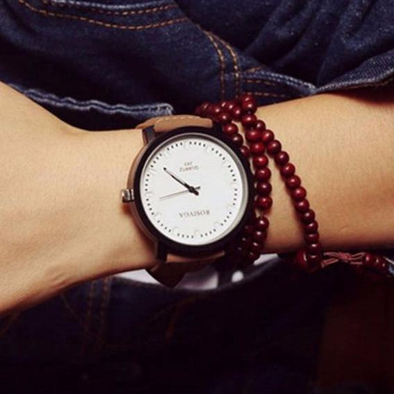 Relógio Quartz Pulseira Couro Sintético Rosinga 5 Cms