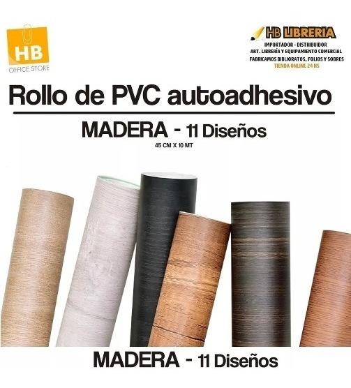 Rollo Pvc Papel Contact Autoadhesivo Tipo Madera 0.45x10 Mts