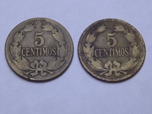 Dos Monedas De Venezuela. 5 Centimos. 1/20 Bolívar. Año 1944