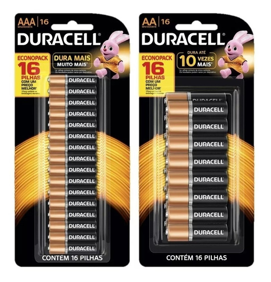 Kit Duracell Pilha Alcalina 16 Unidades Aa + 16 Unidades Aaa