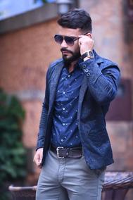 Blazer Masculino Slim Fit Com Elastano Trabalhado Promoção