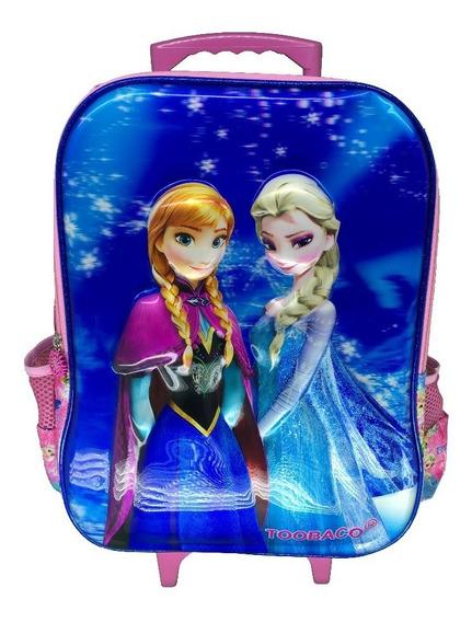 Mochila Escolar Infantil 3d Com Rodinhas Frozen