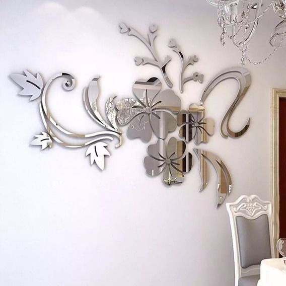 Espejo De Flores Acrílico 3d Casa Pegatina De Pared-plata