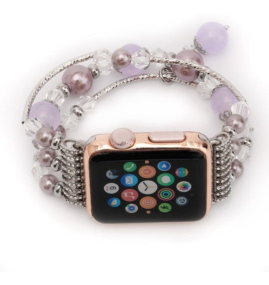Extensible Correa Plateado Con Perlas Apple Watch Dama