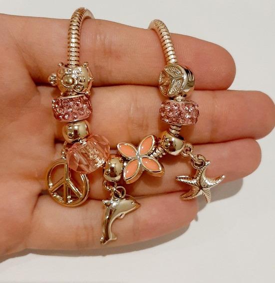 Pulseira Estilo Pandora Ouro Rose