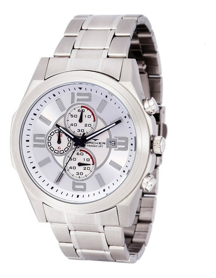 Relógio Backer Masculino 11001653m Si Cronógrafo Prateado