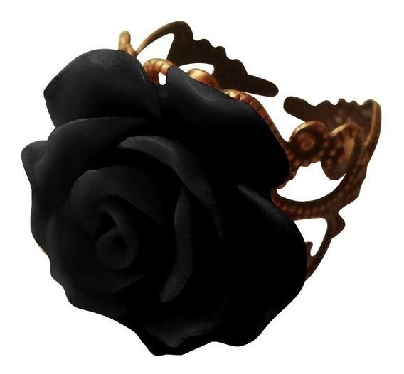 Anel Vintage Rosa Flor Resina Aro Regulável Cor Bronze 2 An
