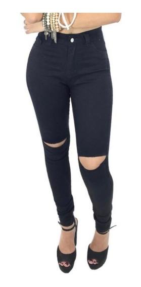 Calça-feminina-preta-jeans-cintura-alta-skinny-rasgo-joelho