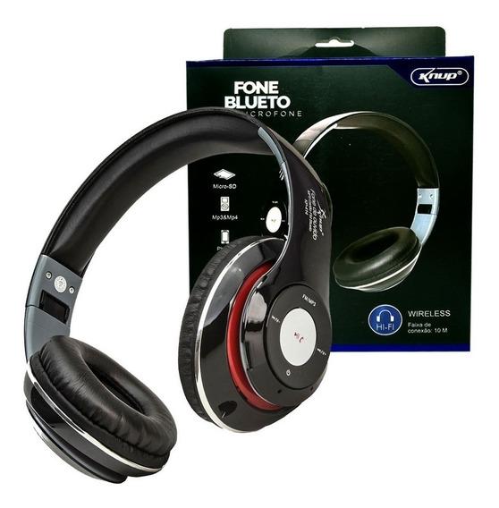 Fone Ouvido Bluetooth Kp-414 Knup Microfone Fm Sd Mp3 Preto