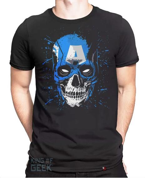 Camiseta Capitão América - Os Vingadores Caveira Geek Filmes
