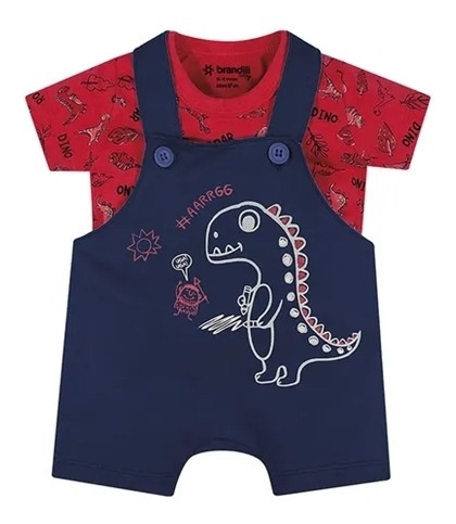 Conjunto Infantil Camiseta E Jardineira Dinossauros Brandili