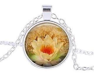 Flor De Lotus Branca Colar Reiki Yoga Buda Pureza Perfeição