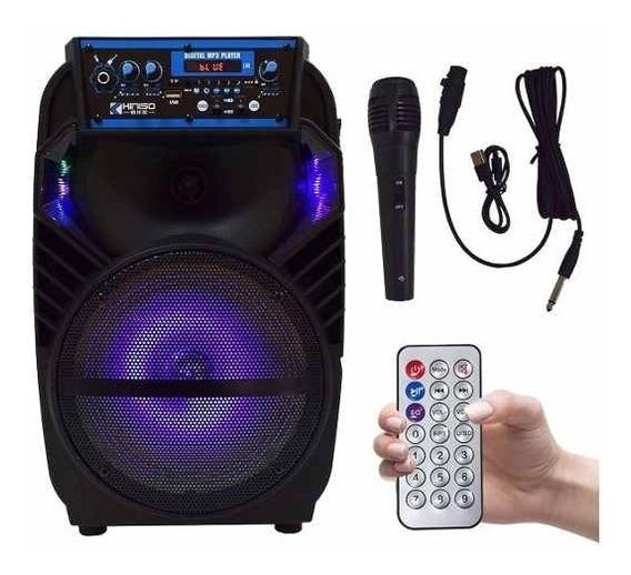 Caixa De Som Com Rodinhas E Microfone Bluetooth