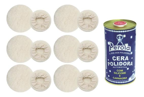 Super Oferta 6 Boinas De Lã Para Polimento Automotivo + Cera
