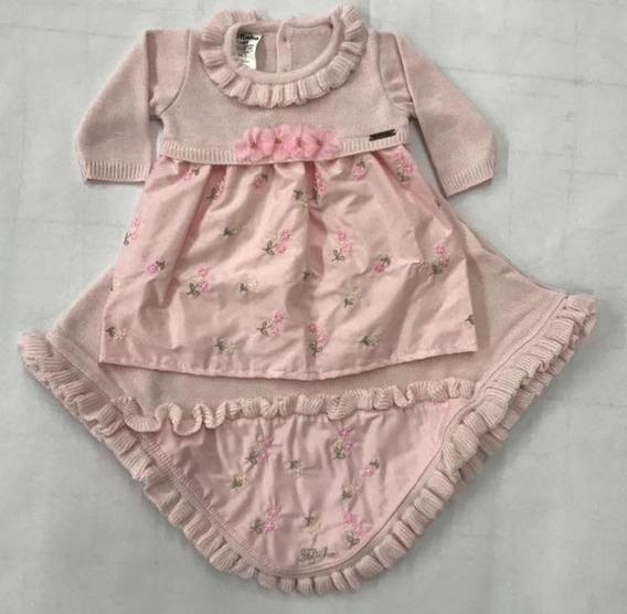 120949 Saída Maternidade Vestido+manta Trico Para Bebê
