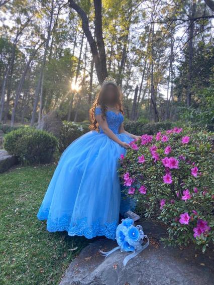 Vestido De Quinceañera Color Azul Súper Hermoso