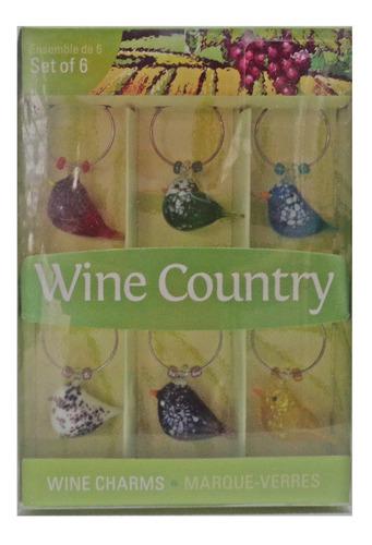 Imagen 1 de 1 de Adornos Para Copas De Vino Wine Country Set De 6 Piezas