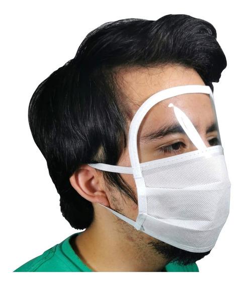 Cubreboca Y Careta Facial Reutilizable Mascarilla 3 Pliegues