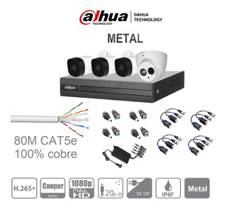 Kit Circuito Cerrado 4 Cámaras Dahua 2mp 1080p Metál 1 Audio