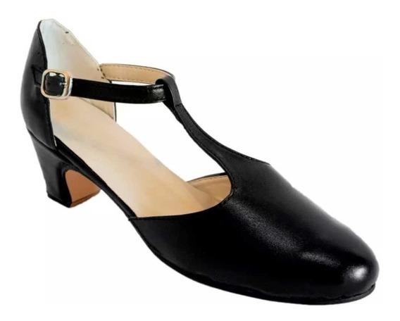 Zapatos Jazz, Folclore, Español Y Salsa - Cuero Negro