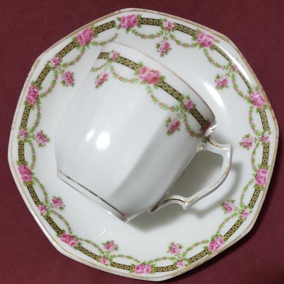 Taza De Café C/plato Porcelana Franc. Limoges Jean Haviland