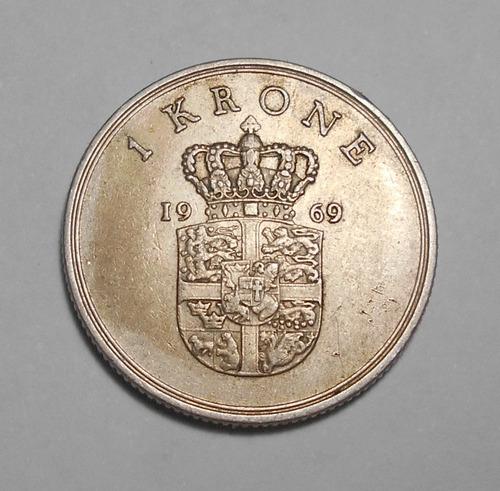 Dinamarca Moneda De 1 Corona 1969 - Km#851.1 - Frederik Ix