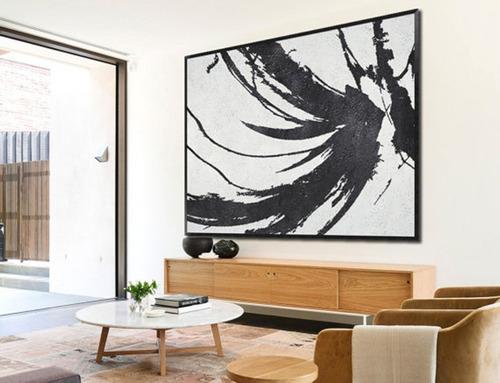 Quadro Pintura Tela Abstrato Preto Branco 1x1,5 Metro