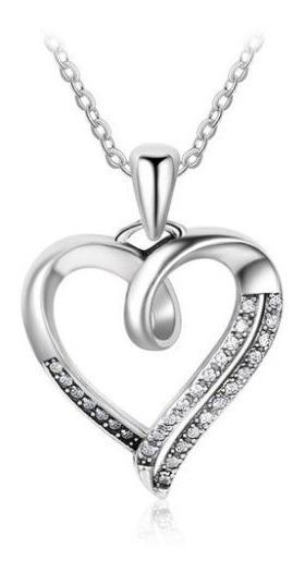 Fino Collar De Corazon Plata Ley .925 Swarovski Novia Amor