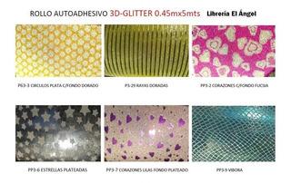Rollo Autoadhesivo Brillo 3d Tipo Contact 1mx45cm Glitter