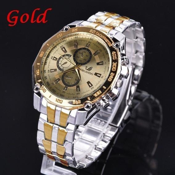 Relógio Masculino Prata Com Dourado Orlando Luxuoso + Brinde