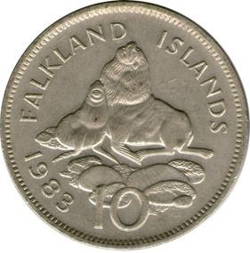 Spg Islas Malvinas 10 Pence 1983 Lobo Marino