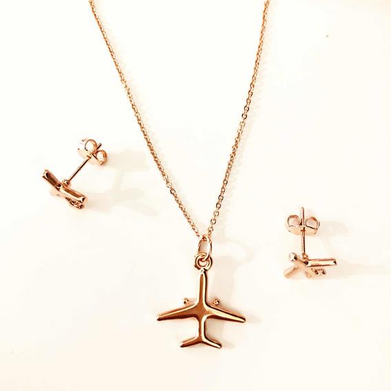 Set Dije Avión Collar Y Aretes Avion Chapa De Oro Rose Gold