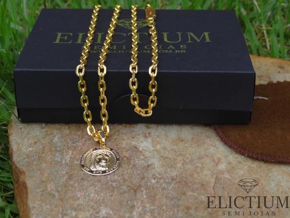 Corrente Cartier Cadeado C/ Pingente Jesus Banh. A Ouro 18k