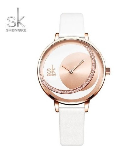 Relógio Feminino Inox Casual Pulseira Couro 30m - Branco