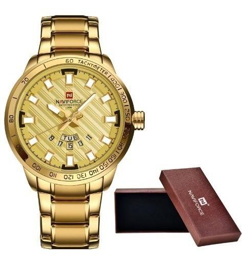Relógio Masculino Dourado Naviforce À Prova D