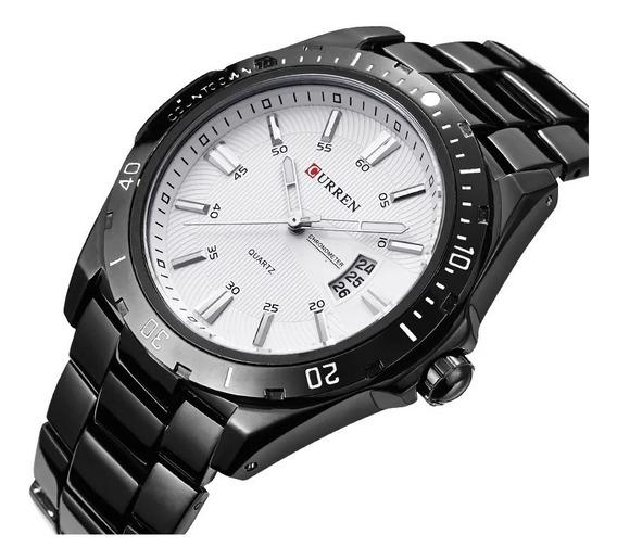 Relógio Pulso Masculino Curren Resistente Água 3 Atm Inox