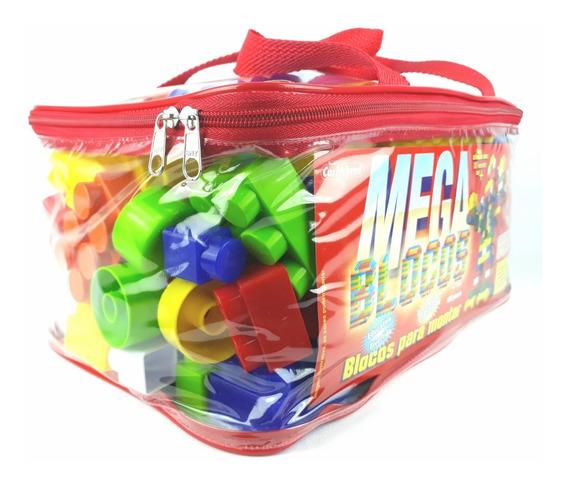 Brinquedos Educativos Mega Blocos Montar 120 Pç Com Rodinhas