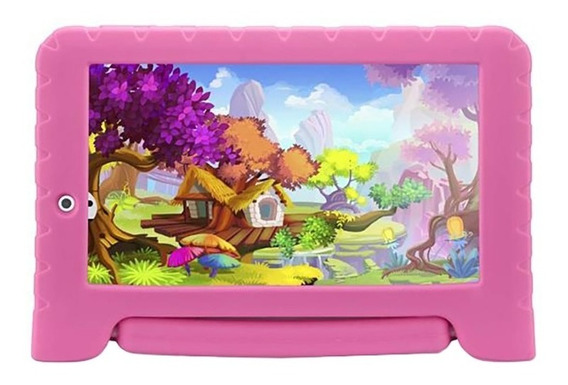 Tablet Infantil Com Jogos Rosa Menina Criança Homologado Anatel 8gb 7pol Kid Pad Plus Quad Core + Case Emborrachado