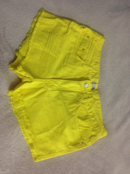 Short Jeans Amarelo N° 40 / 42 Desfiado Na Barra Ziper Sexy