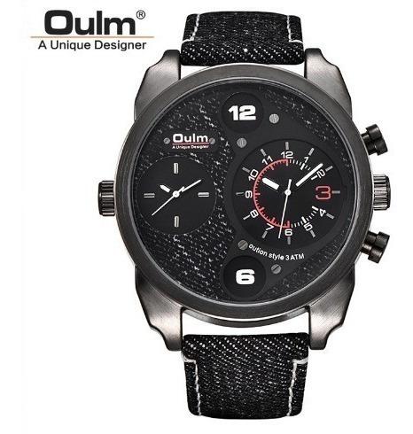 Relógio Pulso Masculino Quartzo Preto Luxo Jeans Oulm Barato